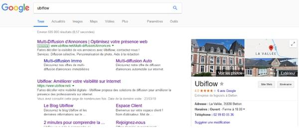 google my business ubiflow