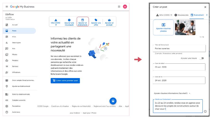 Aperçu création de post événement sur Google My Business