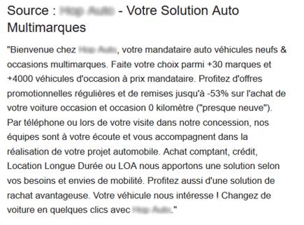 Exemple de description concession automobile google my business