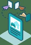Illustration de la multidiffusion d'annonces par Ubiflow