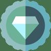 icône diamant dans un badge le tout nuancé dans les verts